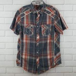 Helix Western Plaid Pearl Snap Short Sleeve Shirt